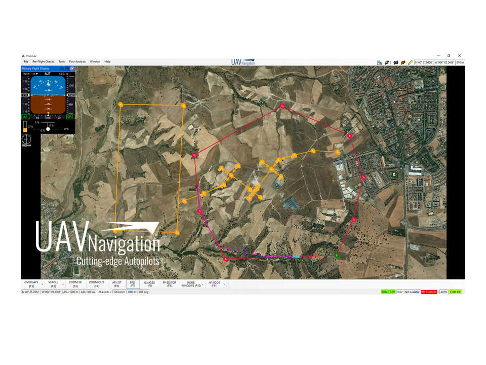 UAV Navigation's mission control software can easily manage multiple flight control plans